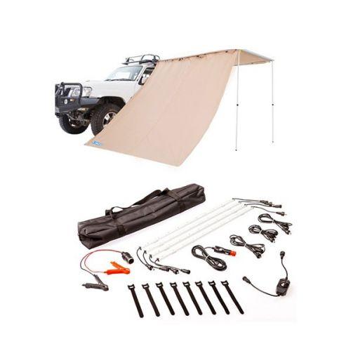Adventure Kings Awning Side Wall + Illuminator 4 Bar Camp Light Kit