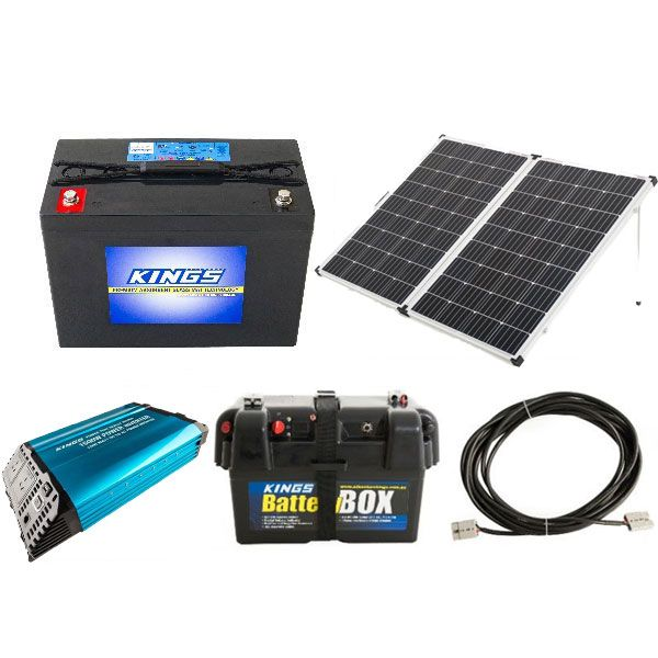 Adventure Kings 250w Solar Panel + Kings 98Ah AGM Deep Cycle Battery + 1500W Pure Sine Wave Inverter + Battery Box + 10m Lead For Solar Panel Extension
