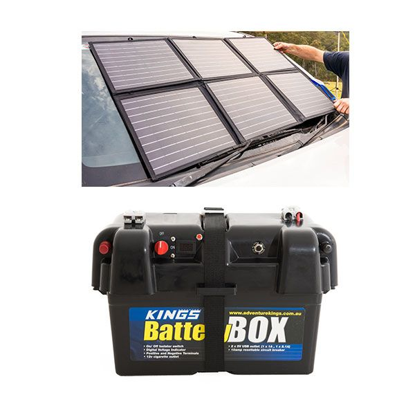 Adventure Kings 120W Portable Solar Blanket + Battery Box