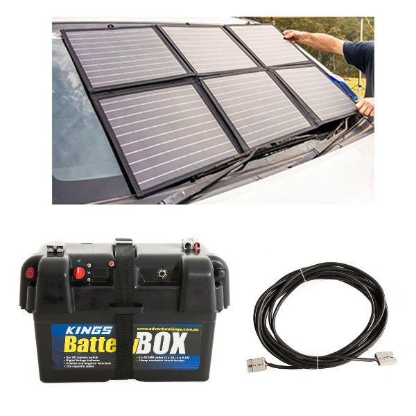 Adventure Kings 120W Portable Solar Blanket + Battery Box + 10m Lead For Solar Panel Extension