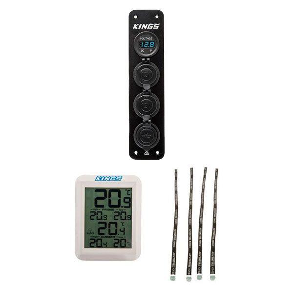 Adventure Kings 12V Accessory Panel + Wireless Fridge Thermometer + Fridge Tie Down Straps (4 pack)