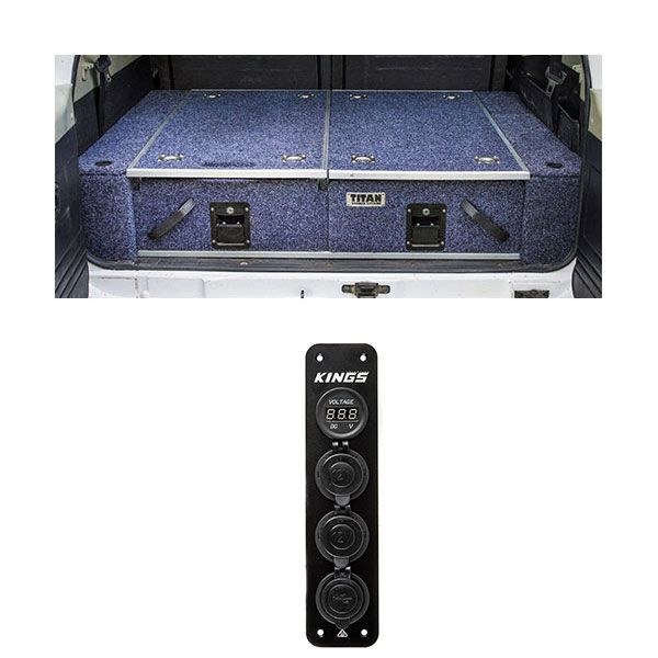 Titan Rear Drawer with Wings suitable for Toyota Landcruiser 100/105 Series (GX/GXL Sept 1998-2005 No Air Con in rear) + Adventure Kings 12V Accessory Panel