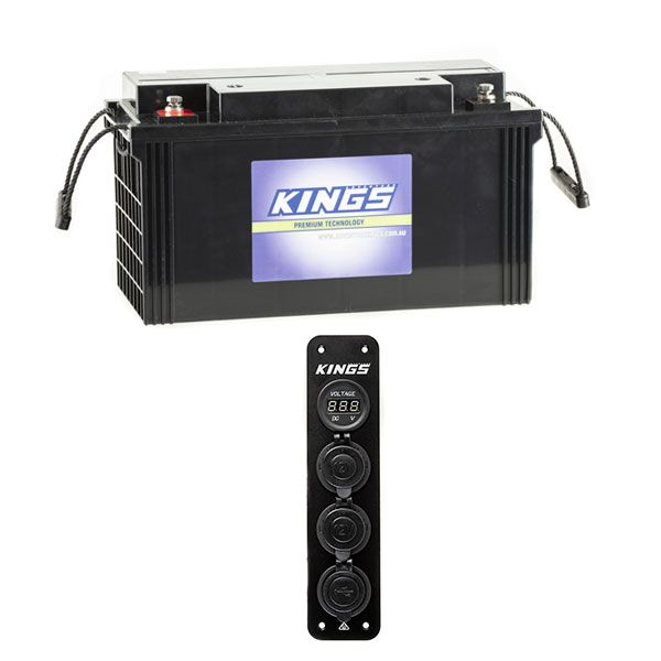 12V Accessory Panel + Adventure Kings 138Ah AGM Deep-Cycle Battery