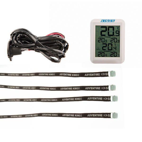 Adventure Kings 12V Fridge Wiring Kit + Wireless Fridge Thermometer + Fridge Tie Down Straps (4 pack)