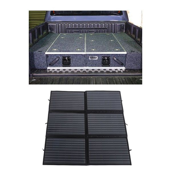 1300mm Titan Drawer System Suitable for Utes + Wings For 1300mm Titan Drawers +  200W Folding Solar Blanket Adventure Kings