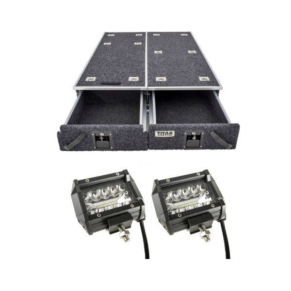 "1300mm Titan Drawer System Suitable for Utes + 4"" LED Light Bar"