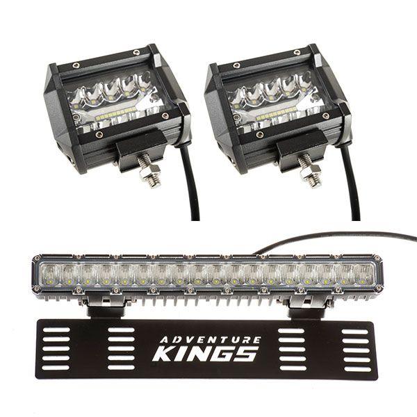 "Adventure Kings 4"" LED Light Bar (Pair) + 15"" Numberplate LED Light Bar"
