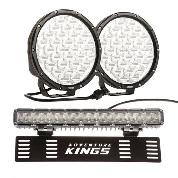"Kings 9"" LED Driving Lights (pair) + 15"" Numberplate LED Light Bar"