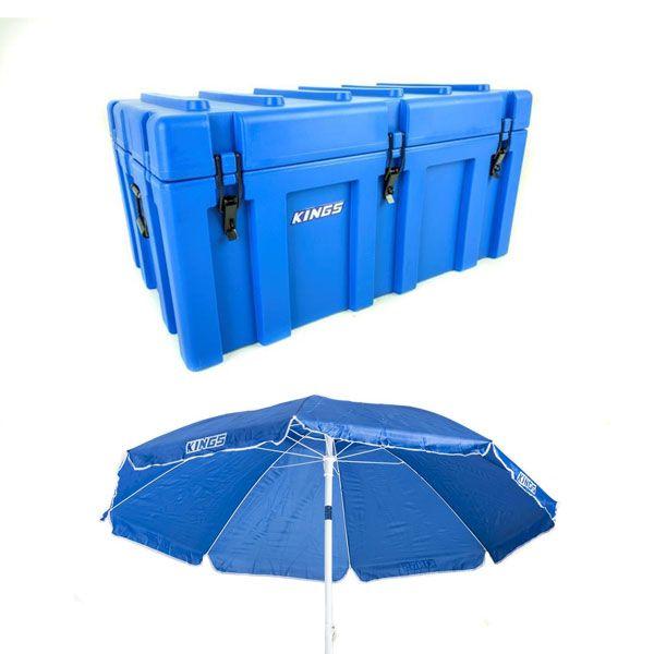 Adventure Kings 156L Storage Box + Beach Umbrella