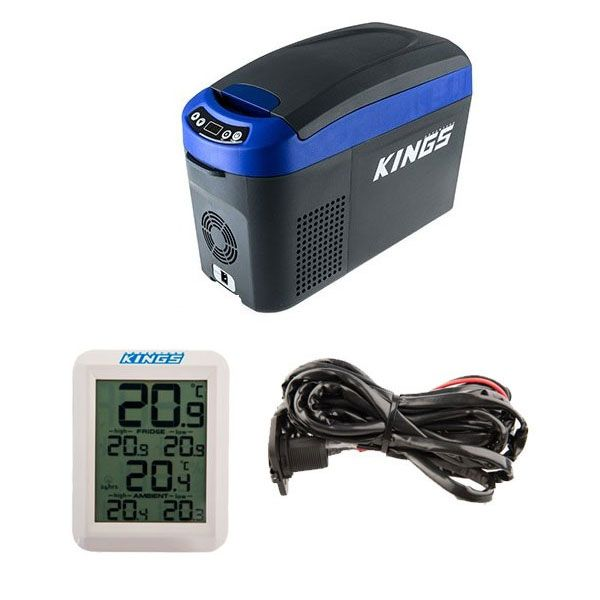 Adventure Kings 15L Centre Console Fridge/Freezer + 12V Fridge Wiring Kit + Wireless Fridge Thermometer