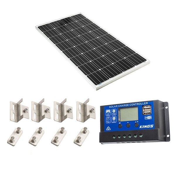 Adventure Kings 160w Fixed Solar Panel + Mounting Brackets + 15A PWM Solar Controller
