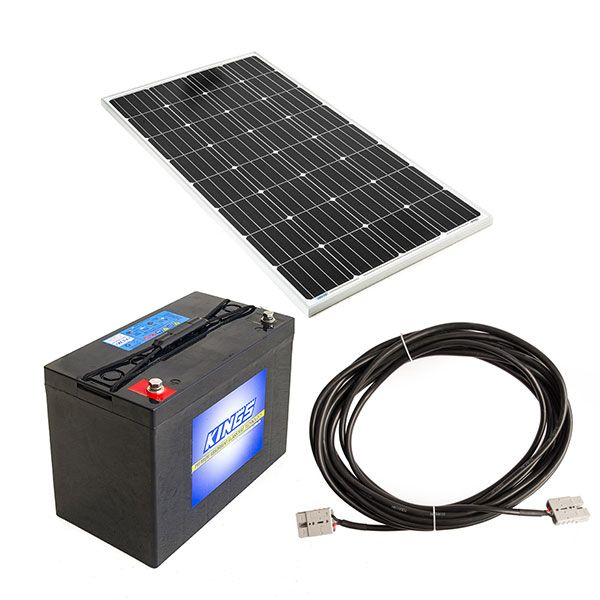 Adventure Kings 160w Fixed Solar Panel + 10m Lead For Solar Panel Extension + AGM Deep Cycle Battery 115AH