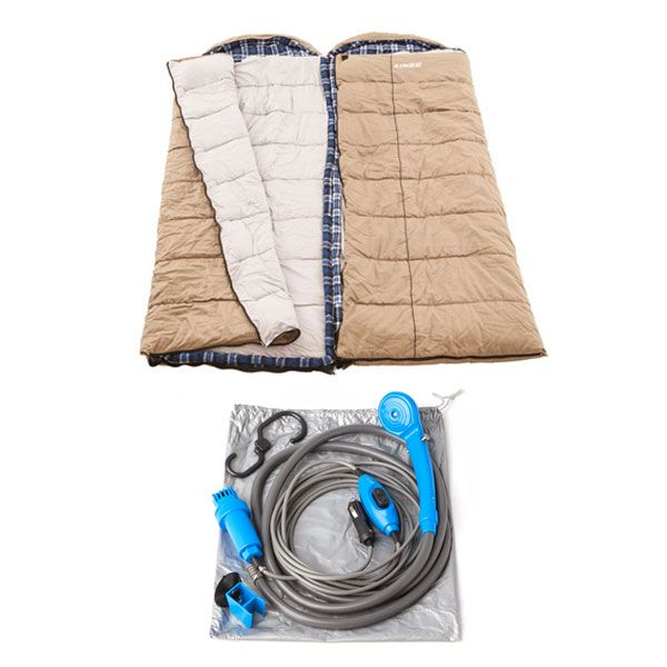 2x Adventure Kings Premium Sleeping bag -5°C to 5°C Degrees Celsius - Left and Right Zipper + Portable Shower Kit