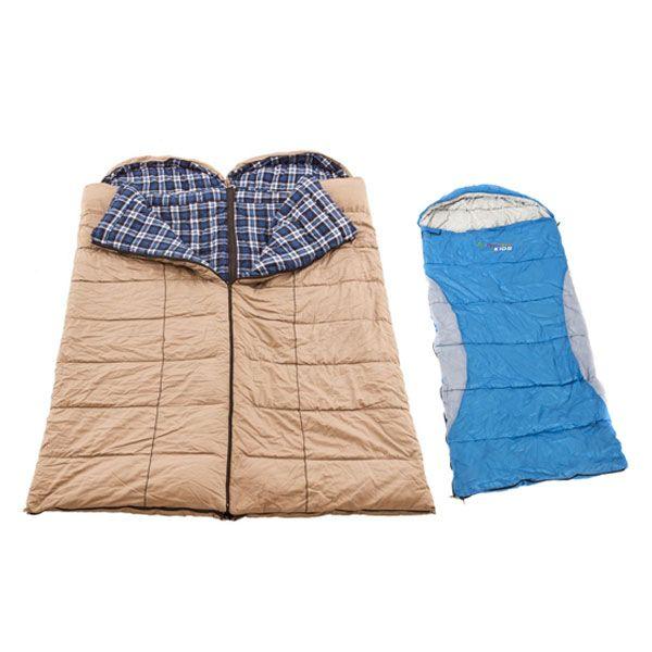 2x Adventure Kings Premium Sleeping bag -5°C to 5°C Degrees Celsius - Left and Right Zipper + Kings -2°C Kids' Sleeping Bag