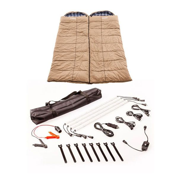 2x Adventure Kings Premium Sleeping bag -5°C to 5°C Degrees Celsius - Left and Right Zipper + Illuminator 4 Bar Camp Light Kit