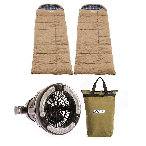 2x Adventure Kings Premium Sleeping bag -5°C to 5°C Degrees Celsius - Left and Right Zipper + Doona/Pillow Canvas Bag + 2in1 LED Light & Fan