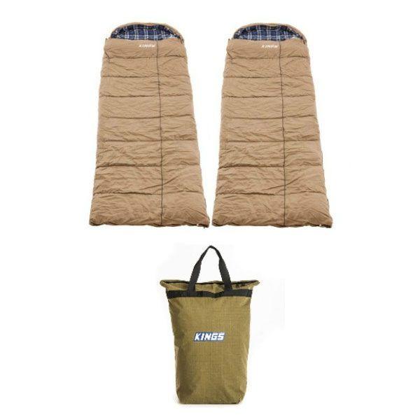 2x Adventure Kings Premium Sleeping bag -5°C to 5°C Degrees Celsius - Left and Right Zipper + Doona/Pillow Canvas Bag
