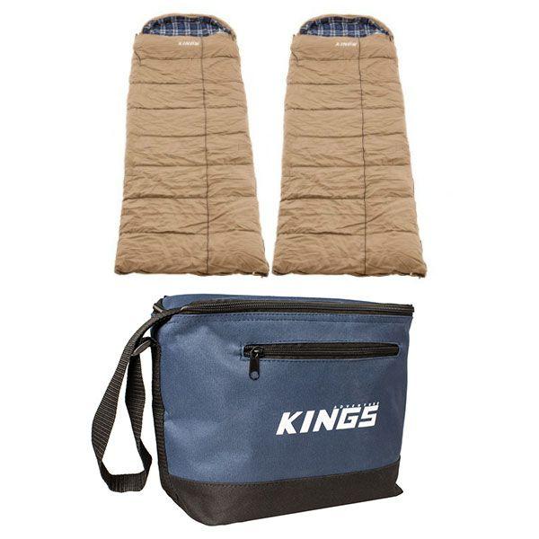 2x Adventure Kings Premium Sleeping bag -5°C to 5°C Degrees Celsius - Left and Right Zipper + Cooler Bag