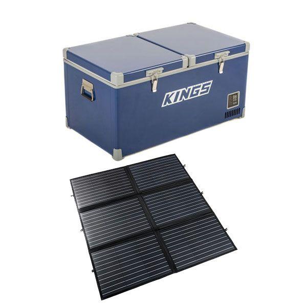 Kings 90L Camping Fridge Freezer | Dual Zone + Adventure Kings 200W Portable Solar Blanket