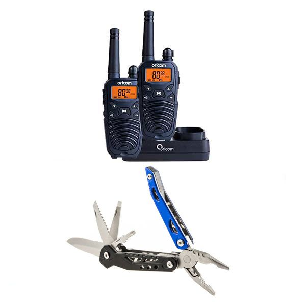 Oricom Handheld UHF CB Radio Twin Pack - UHF2190 + Adventure Kings 18-in-1 Multi-Tool