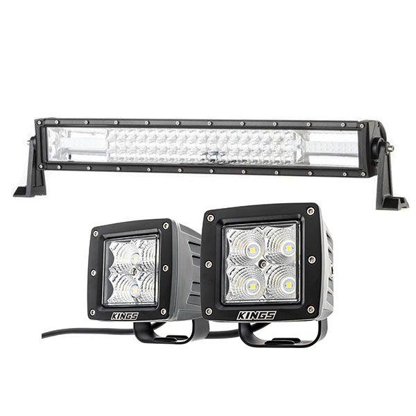"""Adventure Kings Domin8r 22"""" LED Light Bar + 3"""" LED Work Light - Pair"""