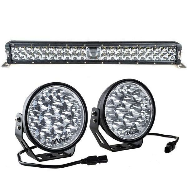 "Adventure Kings Domin8r Xtreme 7"" LED Driving Lights (Pair) + Adventure Kings 24"" Laser Light Bar"