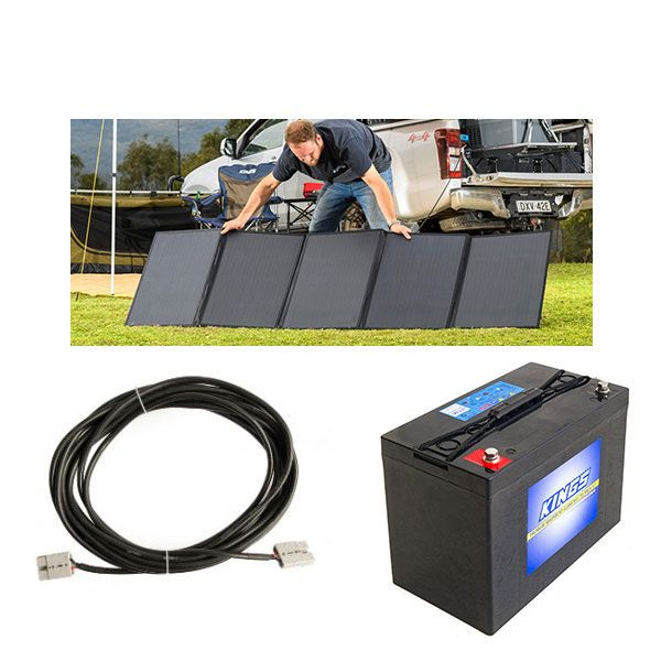 Adventure Kings 250W Solar Blanket + AGM Deep Cycle Battery 115AH + 10m Lead For Solar Panel Extension