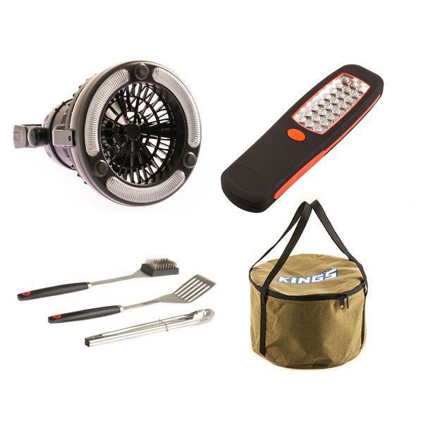 Adventure Kings 2in1 LED Light & Fan + 24 LED Work Light + Adventure Kings Camp Oven Canvas Bag + BBQ Tool Set