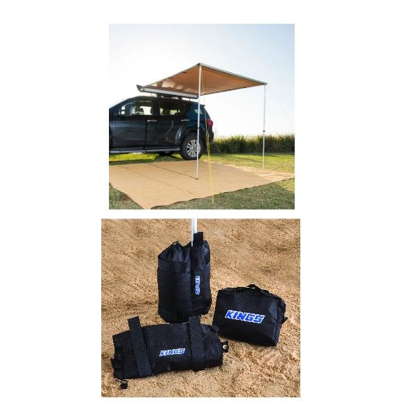 2 x 2.5m 2 in 1 Awning + Strip Light + Adventure Kings Sand Bags (pair)