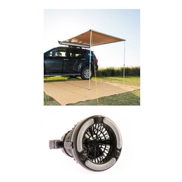 2 x 2.5m 2 in 1 Awning + Strip Light + Adventure Kings 2in1 LED Light & Fan