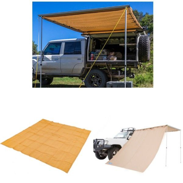 Adventure Kings Awning 2x3m + Mesh Flooring 3m x 3m + Awning Side Wall