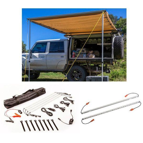 Adventure Kings Awning 2x3m + Orange LED Camp Light Extension Kit + Illuminator 4 Bar Camp Light Kit
