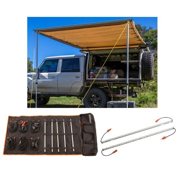 Adventure Kings Awning 2x3m + Orange LED Camp Light Extension Kit + Complete 5 Bar Camp Light Kit