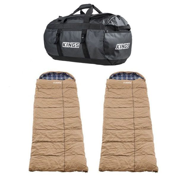 2x Adventure Kings Premium Sleeping bag -5°C to 5°C Degrees Celsius - Left and Right Zipper + 80L Extra-Large PVC Duffle Bag