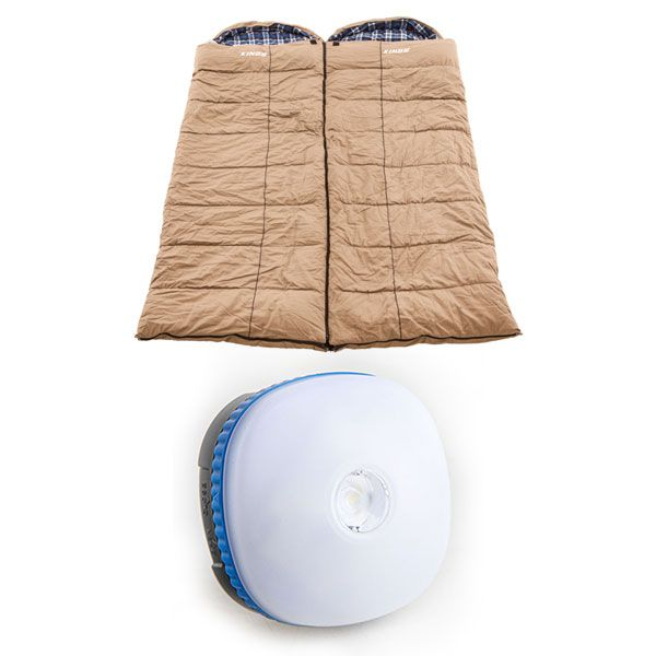 2x Adventure Kings Premium Sleeping bag -5°C to 5°C Degrees Celsius - Left and Right Zipper + Mini Lantern