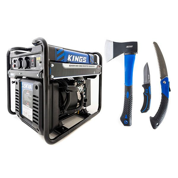 Adventure Kings 3.5kVA Open Generator + Three Piece Axe, Folding Saw and Knife Kit
