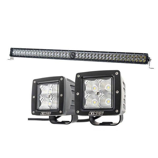 """Kings 30"""" Laser Light Bar + 3"""" LED Work Light - Pair"""