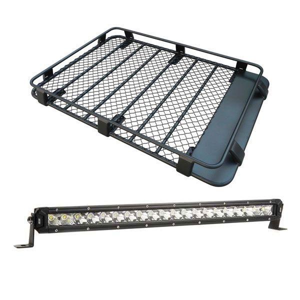 "Steel Roof Rack 3/4 Length + 20"" LETHAL MKIII Slim Line LED Light Bar"