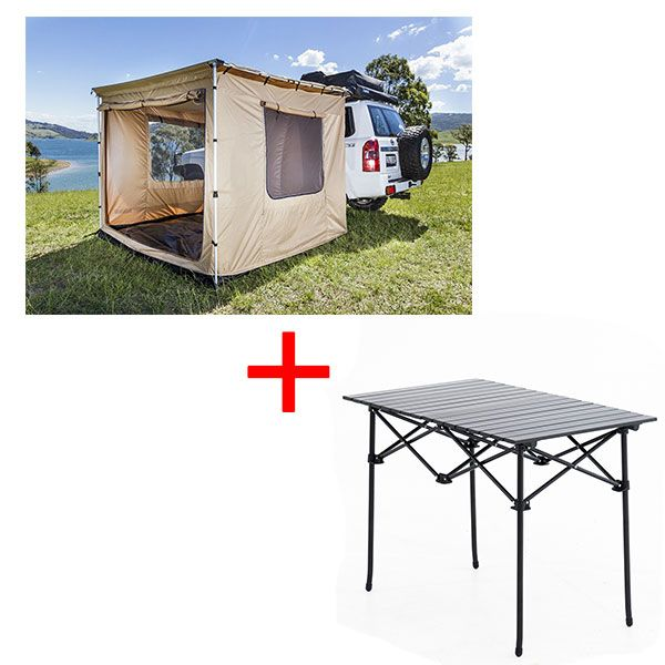 Adventure Kings 2.5x2.5m Awning Tent + Aluminium Roll-Up Camping Table