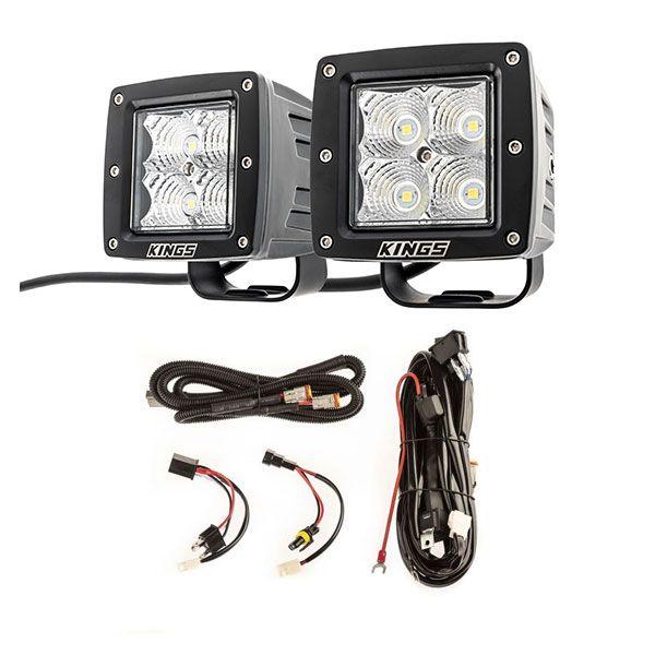 "Adventure Kings 3"" LED Work Light - Pair + Plug N Play Smart Wiring Harness Kit"