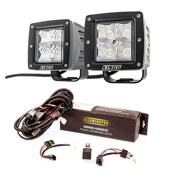 "Adventure Kings 3"" LED Work Light - Pair + Wiring Harness"