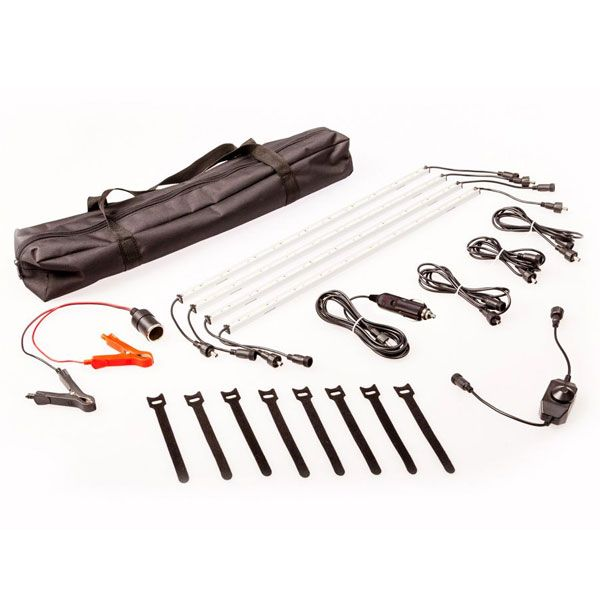 Illuminator 4 Bar Camp Light Kit | LED dimmer | Alligator clips & cig socket | Adventure Kings