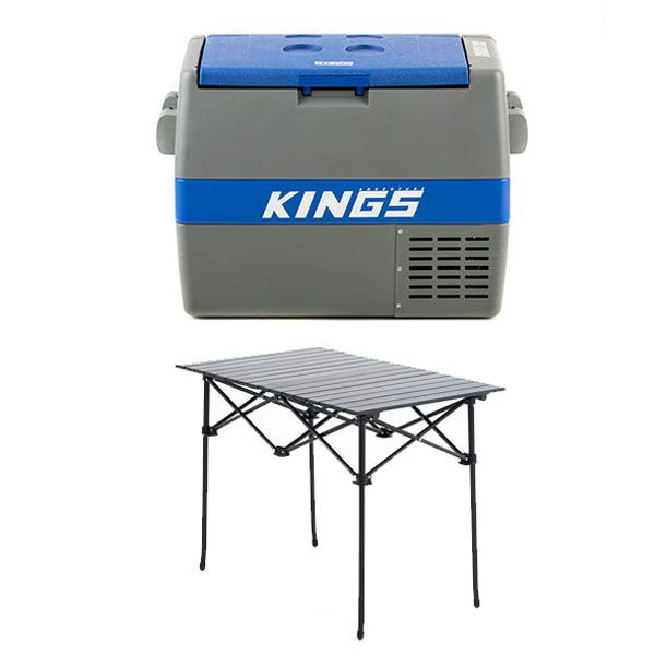 Adventure Kings 60L Camping Fridge + Aluminium Roll-Up Camping Table