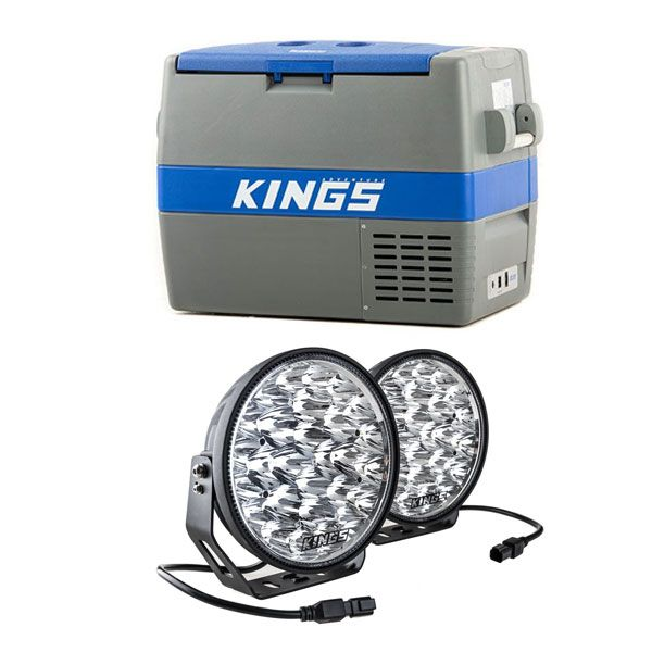 "Adventure Kings 60L Camping Fridge/Freezer + Domin8r Xtreme 9"" LED Driving Lights (Pair)"