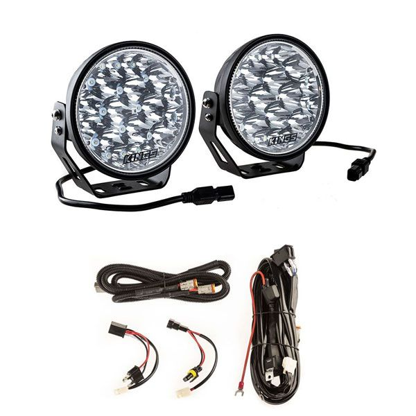 "Adventure Kings Domin8r Xtreme 7"" LED Driving Lights (Pair) + Plug N Play Smart Wiring Harness Kit"
