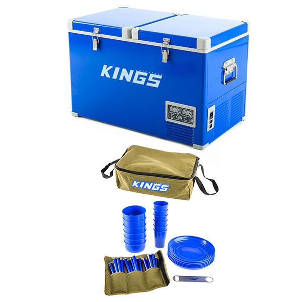 Adventure Kings 70L Camping Fridge/Freezer + Adventure Kings 37 Piece Picnic Set