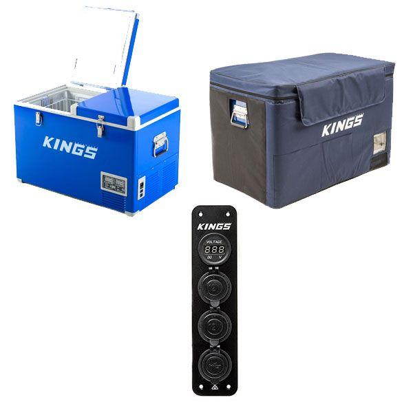 Adventure Kings 70L Camping Fridge/Freezer + 70L Camping Fridge Cover + 12V Accessory Panel