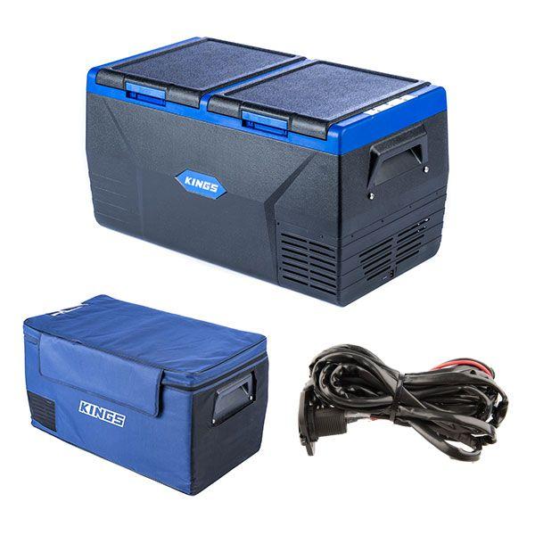Kings 75L Dual Zone Fridge / Freezer + 75L Fridge Cover + 12V Fridge Wiring Kit