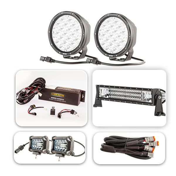 "Pair of 7"" Driving Lights, 22"" Light Bar & 2x 4"" Light Bar Ultimate Pack