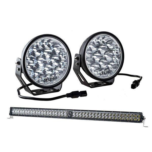 "Kings Domin8r Xtreme 7"" LED Driving Lights + 30"" Laser Light Bar"
